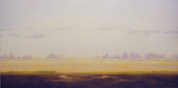 "Marshlands Evening. Oil on linen, 24"" x 48"""