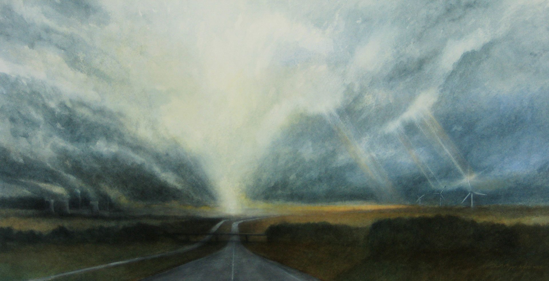 """Abandoned Roadway at the Dawn of a New Age. Watercolor on paper, 13.5"""" x 27"""""""