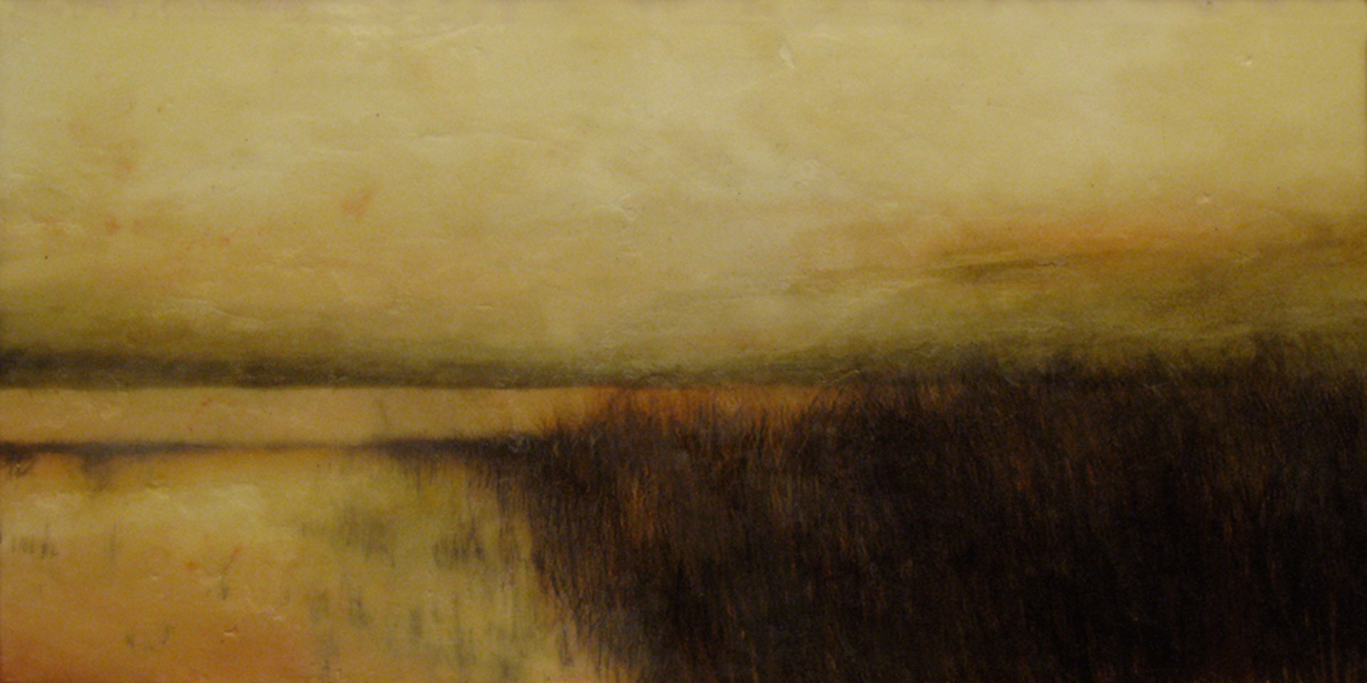 "Marsh Grasses.  Watercolor and encaustic, 12"" x 24"""