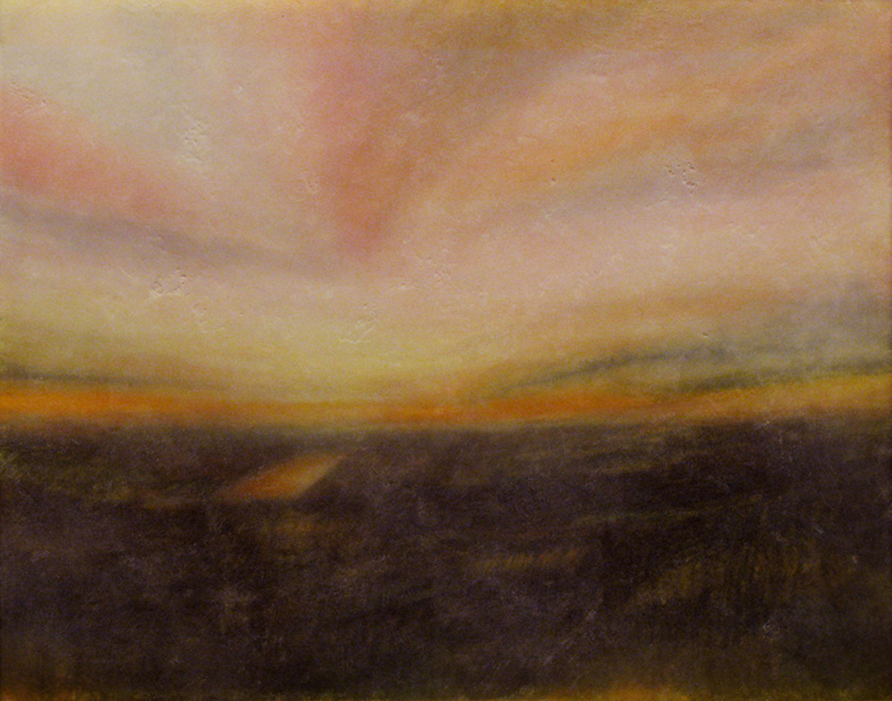 "The Path.  Watercolor and encaustic, 11"" x 14"""