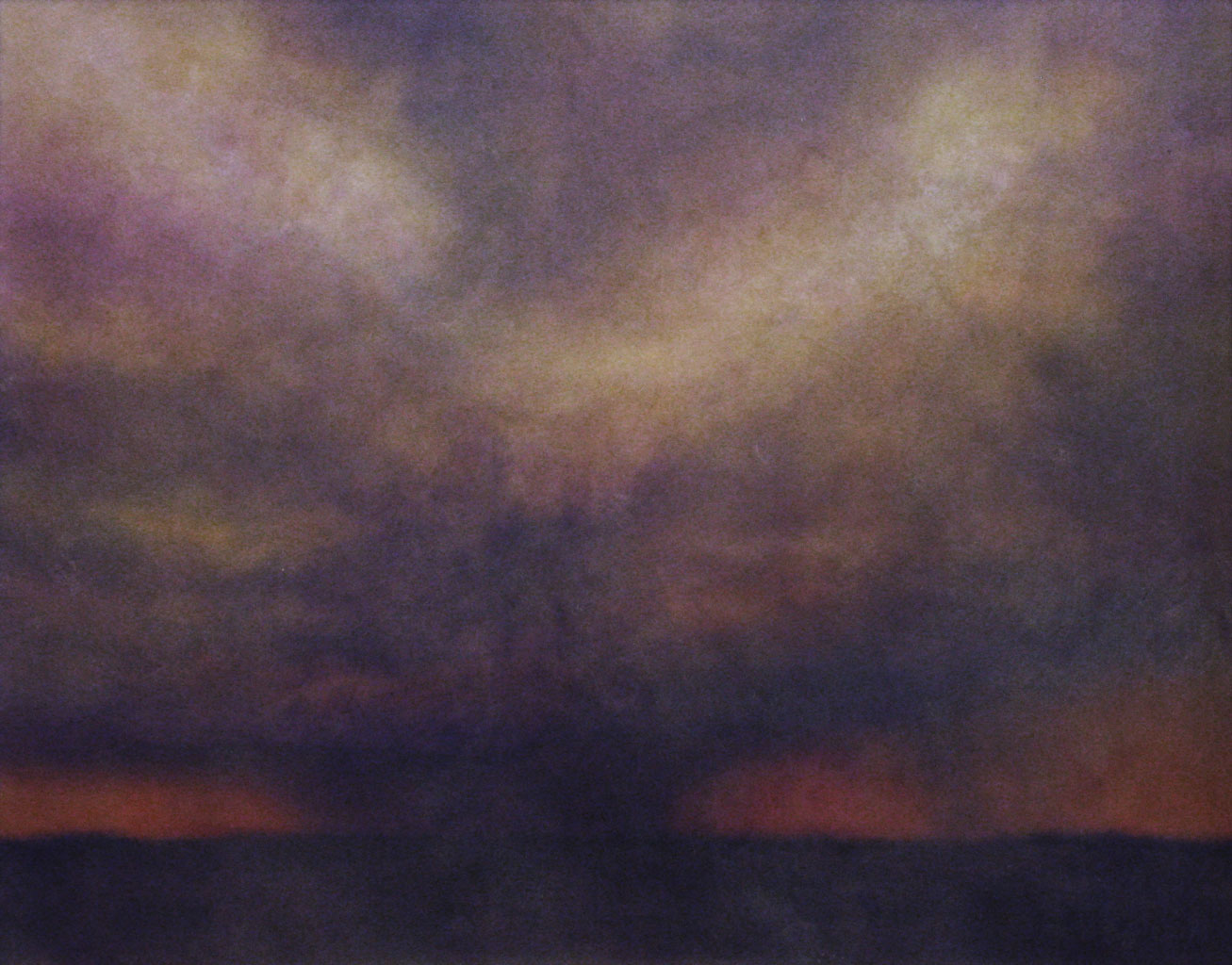 "Lowering Violet.  Watercolor and encaustic, 11"" x 14"""