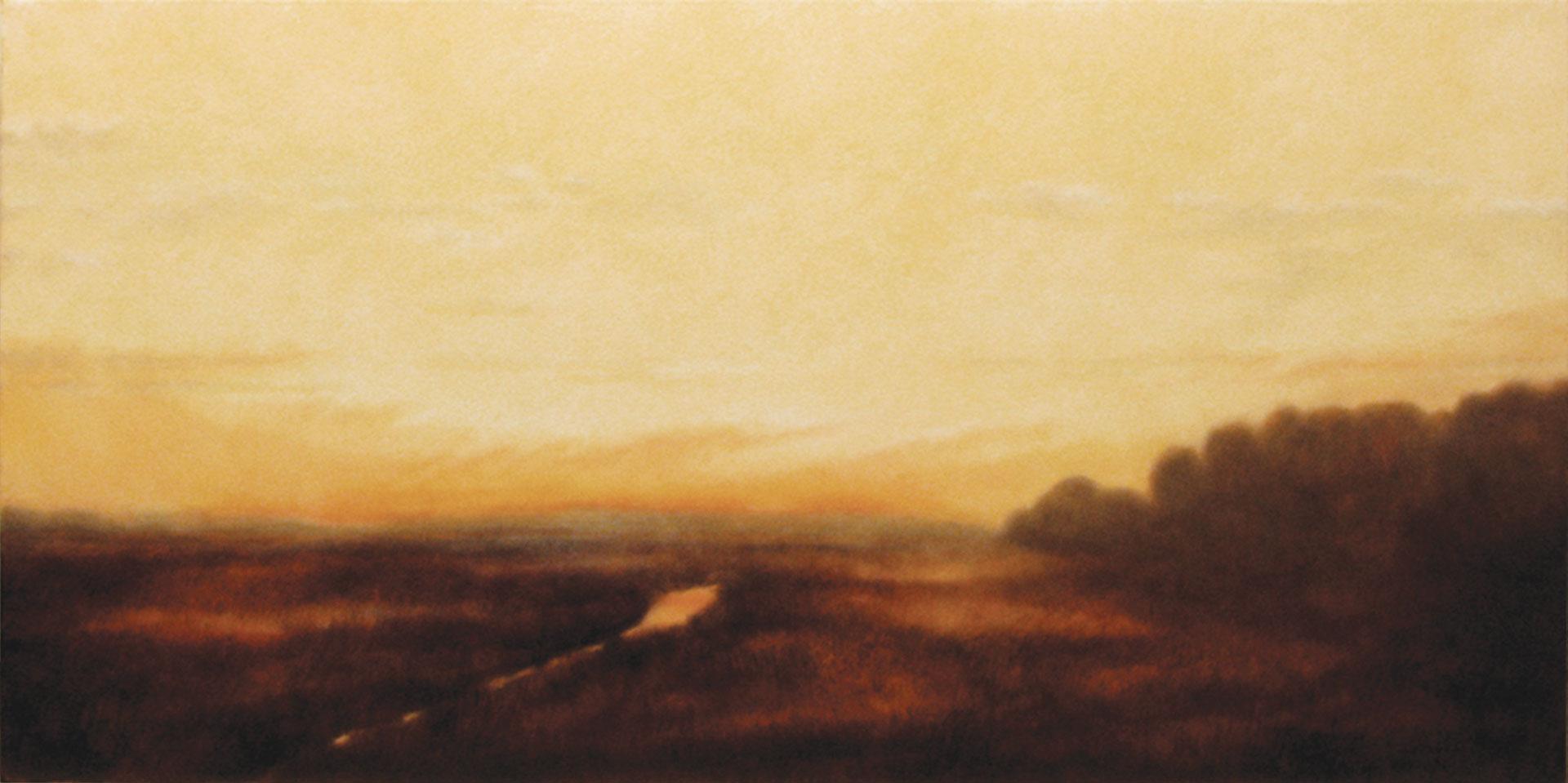 "Love at Sunset. Oil on linen, 24"" x 48"""