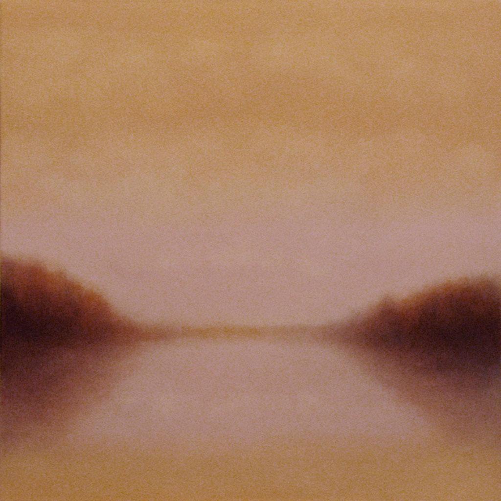 "Symmetrical River in Mist. Oil on linen, 20"" x 20"""