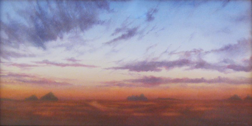 """Red Summer Evening. Watercolor on paper, 12"""" x 24"""""""