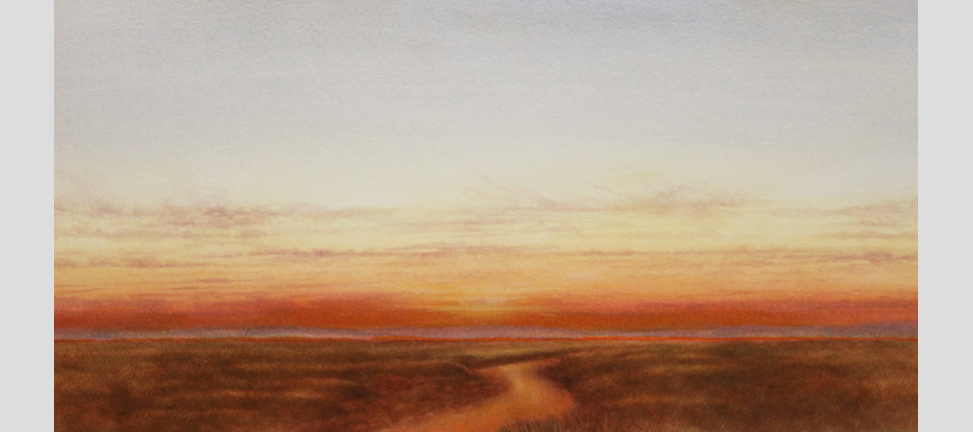 """Meandering Evening. Watercolor on paper, 12"""" x 24"""""""