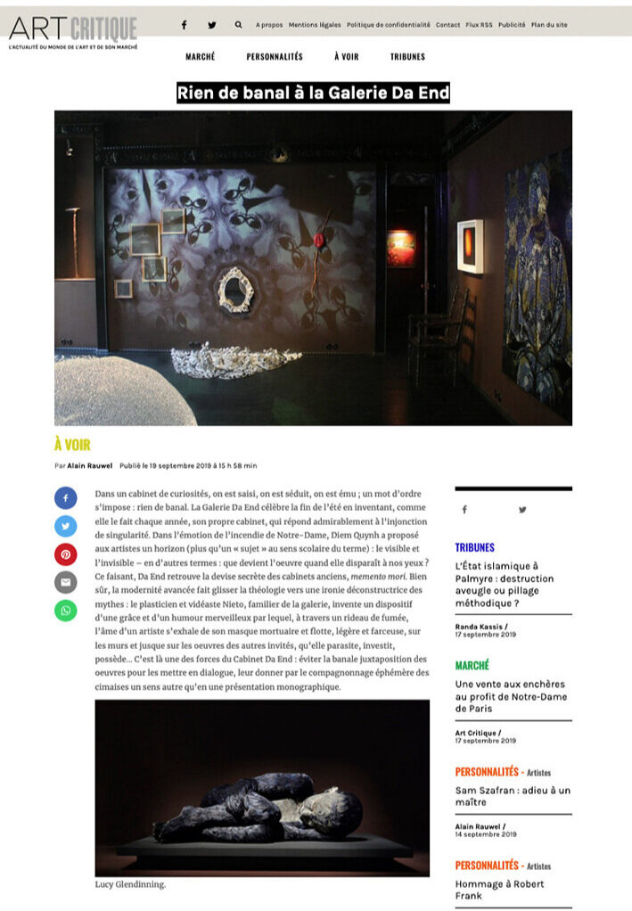 Septembre 2019 Par Alain Rauwel Article sur  Art-critique