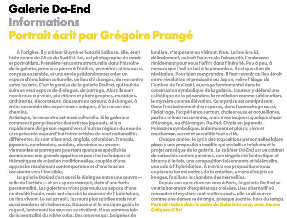 Septembre 2019 Par Grégoire Prangé Article sur  Galeristes