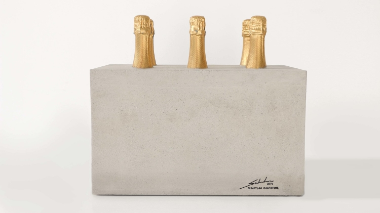 2014  Champagne bottles and cement  11-1/2 x 17 x 14-1/4in (29 x 43 x 36cm)