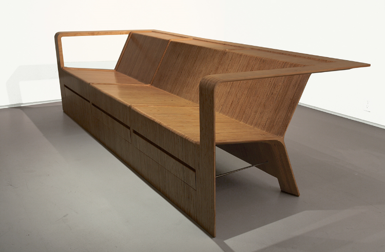2008  Carved laminated plywood  38-1⁄4 x 27-3⁄4 x 79-1⁄2 in (97 x 70,5 x 202cm)  Delta Sofa is from Sebastian's hand sculpted plywood series. In this piece, he exaggerates the size of Delta Chair and challenges the limits of sculpting furniture.