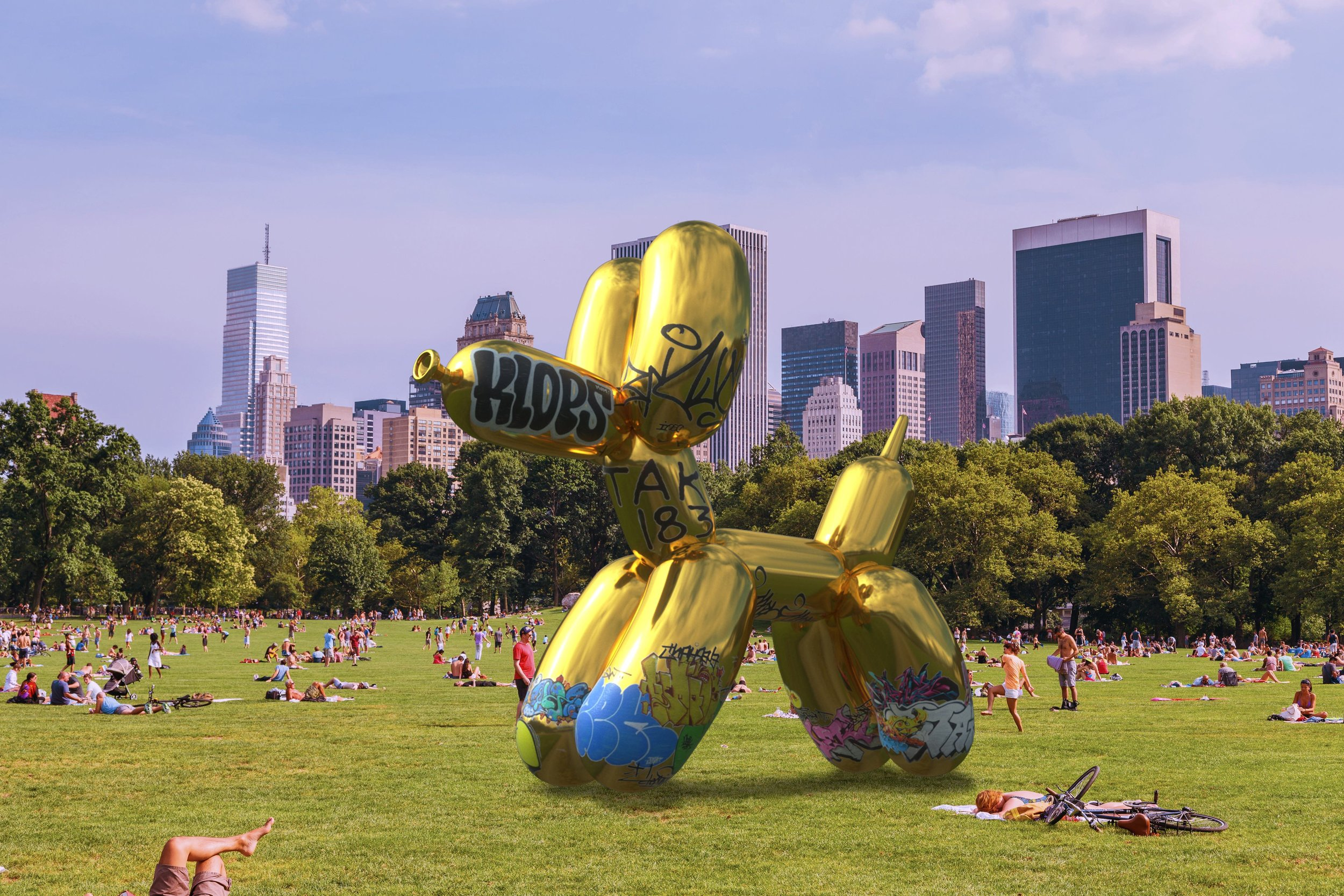 2017     Snapchat X Jeff Koons augmented reality artwork was vandalized on opening night by artist Sebastian Errazuriz.  Snapchat's new AR sculpture was launched with great fanfare in New York's Central Park on Tuesday. Visitors gathered to see the giant Balloon Dog sculpture appear in their cameras, as if it were actually there. The virtual art installation constituted the first of a series of digital, 3D, geo-tagged sculptures that will populate the world.  On site was also present artist Sebastian Errazuriz and his team from CrossLab, who observed the corporate initiative. 24 hours later they completed an identical 3D AR Balloon Dog and geo-tagged it to the exact coordinates for visitors to see. The only difference was that the new sculpture now appeared vandalized with graffiti, as if the result of an overnight protest. A symbolic stance against an imminent AR corporate invasion.