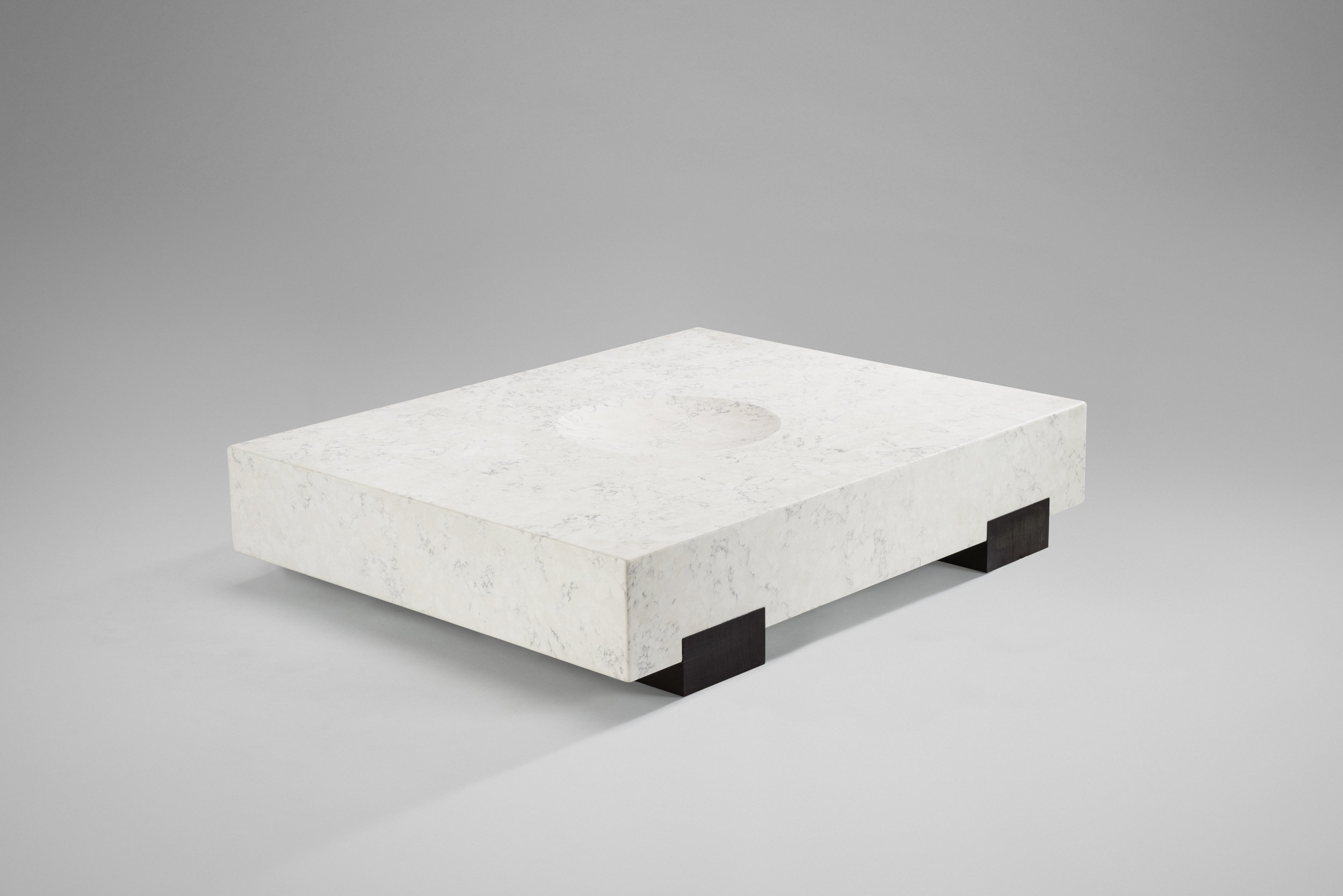 2018  Carrara smoky quartz, recreated ebony wood  H26 x L125 x D100 cm / H10.2 x L49.2 x D39.4 in