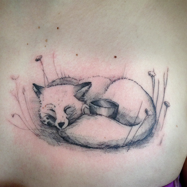 fine line single needle Justin Turkus Philadelphia best tattoo artist fox cup tea curled cute.jpg