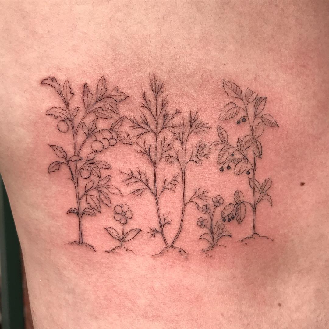 fine line single needle Justin Turkus Philadelphia best tattoo artist garden ribs.jpg