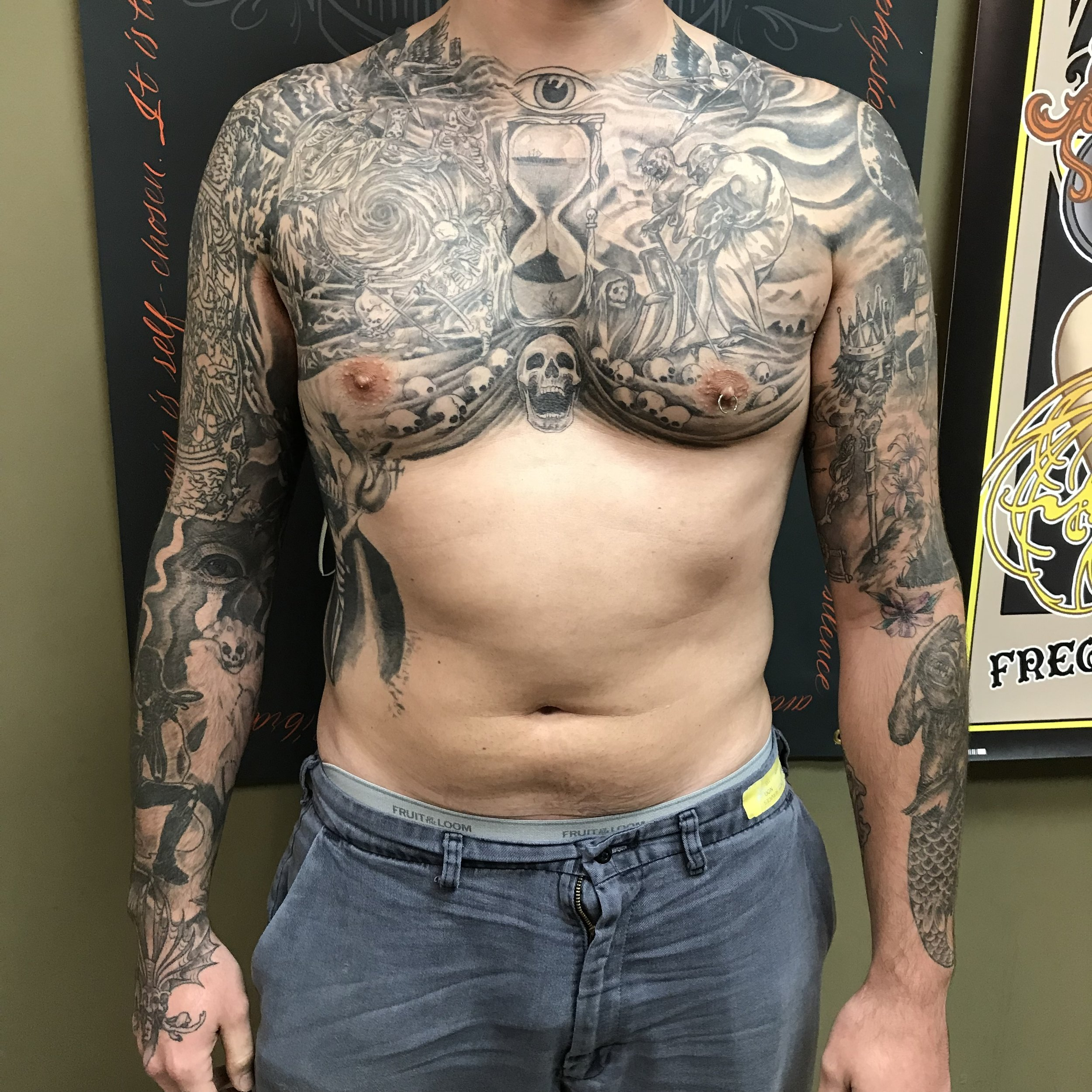 bg Justin Turkus Philadelphia fine line lettering best tattoo Artist bodysuit wip john skull death eye hourglass sleeve chest healed fullsize.jpg