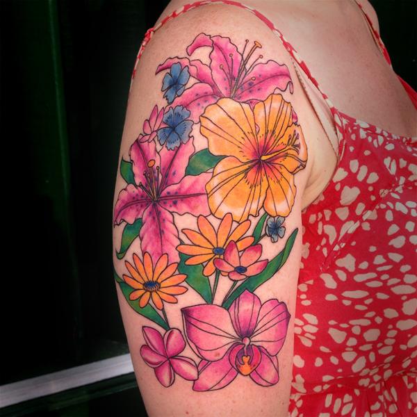 color Justin Turkus Philadelphia fine line lettering tattoo artist carrie sleeve flowers bright.jpg