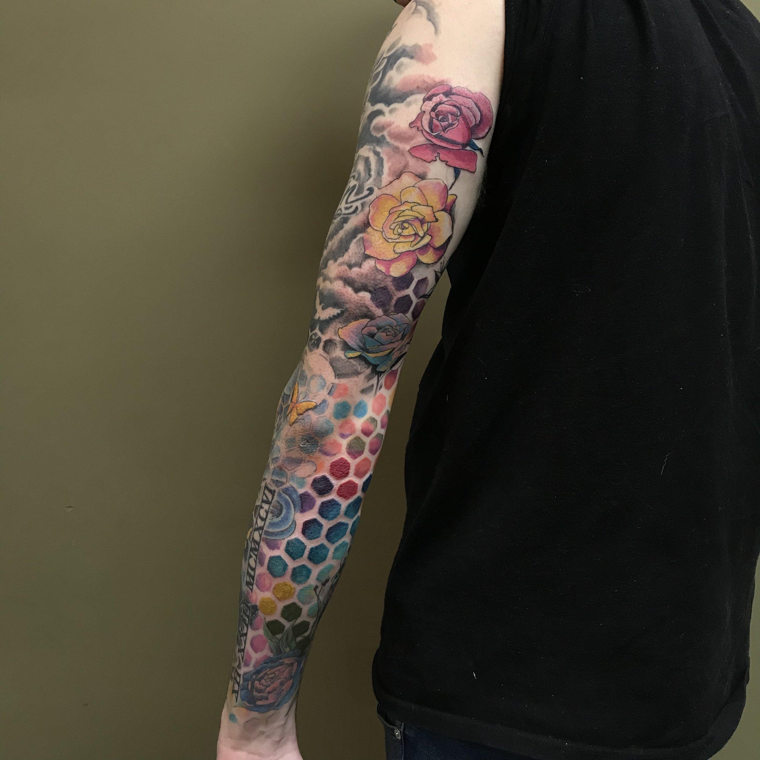 color Justin Turkus Philadelphia fine line lettering tattoo artist kyle sleeve back pattern geometric rose.jpg
