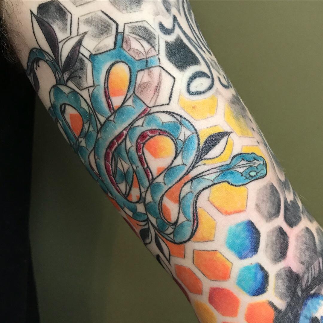color Justin Turkus Philadelphia fine line lettering tattoo artist kyle sleeve snake geometric pattern hexagon detail.jpg