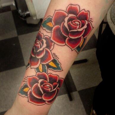 color Justin Turkus Philadelphia fine line lettering tattoo artist leigh traditional rose roses.jpg