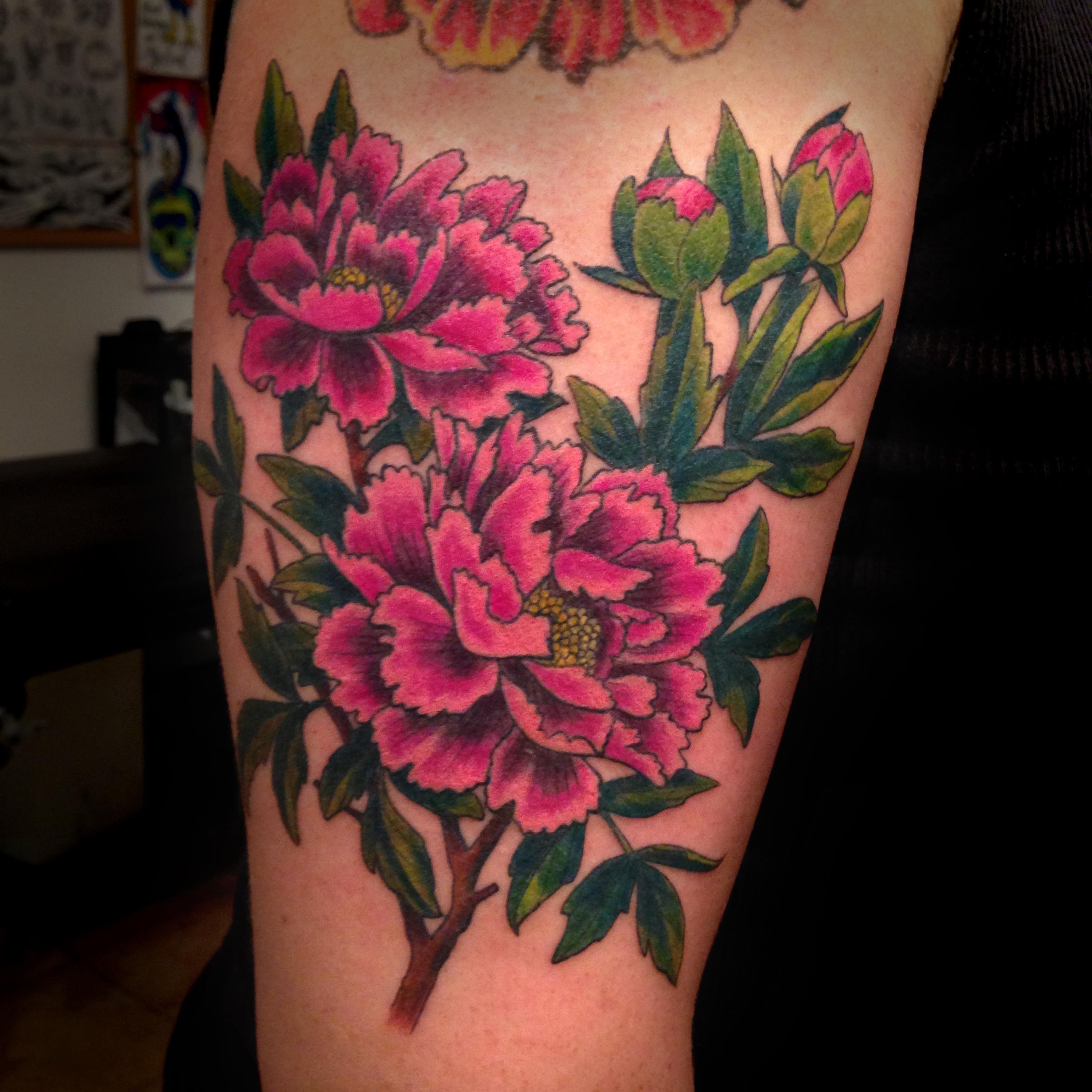 color Justin Turkus Philadelphia fine line lettering tattoo artist peonies vintage west philly.jpg