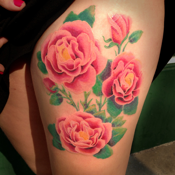 color Justin Turkus Philadelphia fine line lettering tattoo artist roses beautiful pink.jpg