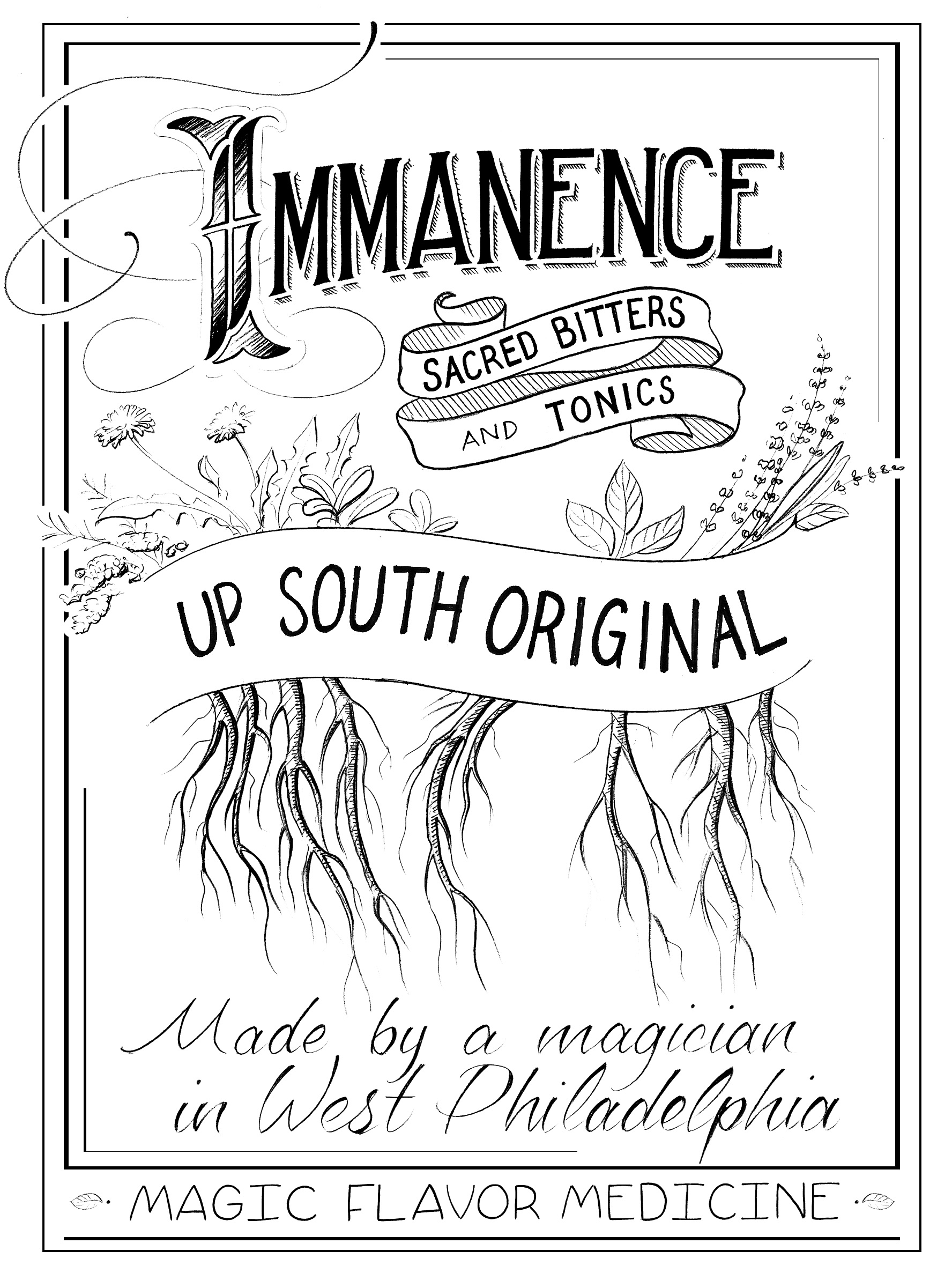 graphic design Justin Turkus Philadelphia tattoo artist immanence bitters label logo.jpg