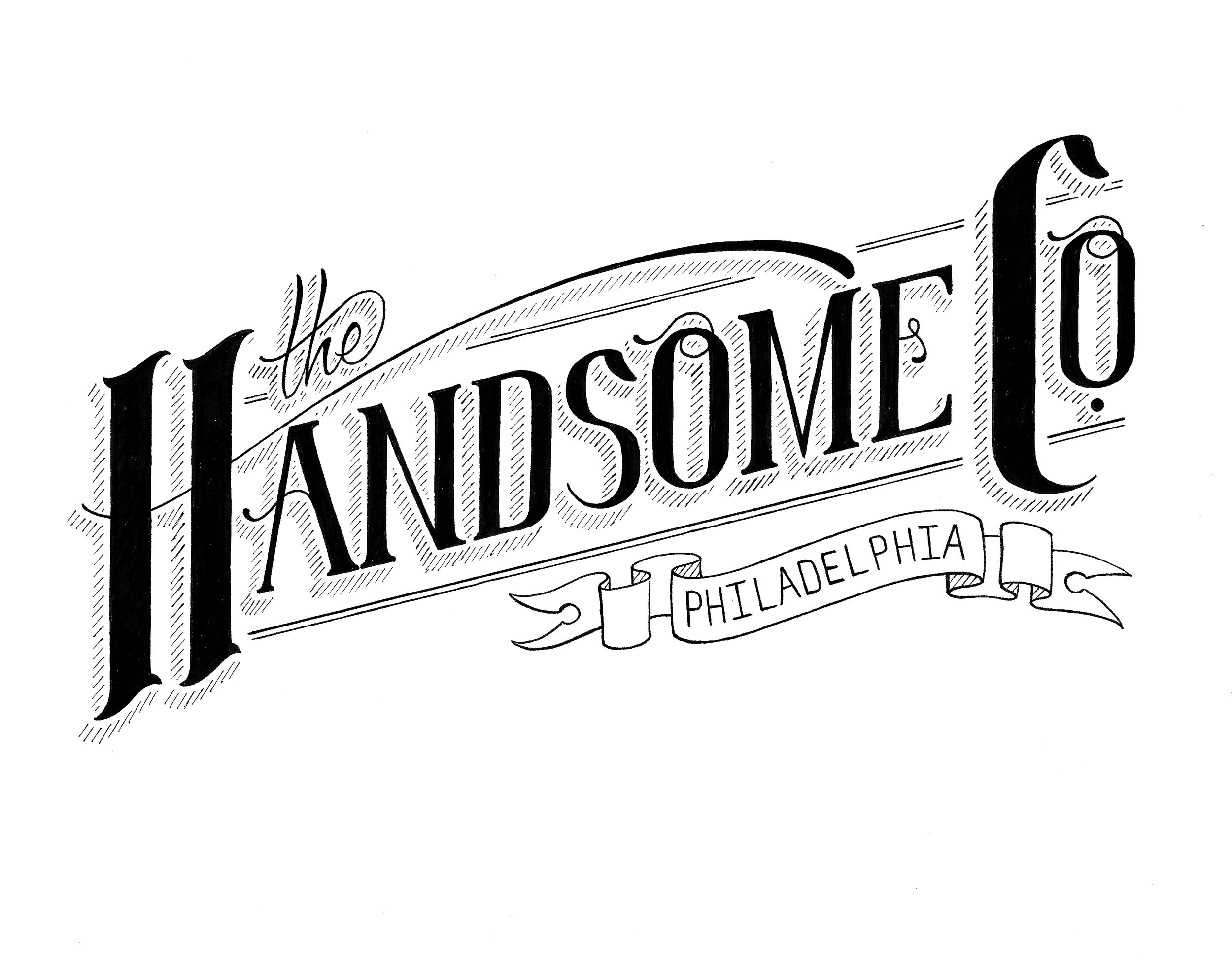 graphic design Justin Turkus Philadelphia tattoo artist the handsome company logo black beard oil mustache wax.jpg