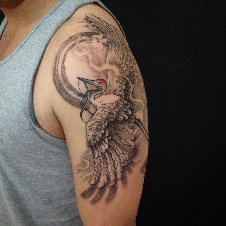 bg Justin Turkus Philadelphia fine line lettering best tattoo Artist crane enso sleeve front.jpg