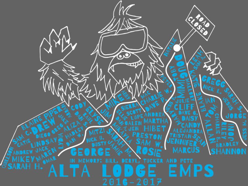 2017 Alta Lodge Employee T-Shirt Design (Original Sketch)   Created for The Alta Lodge