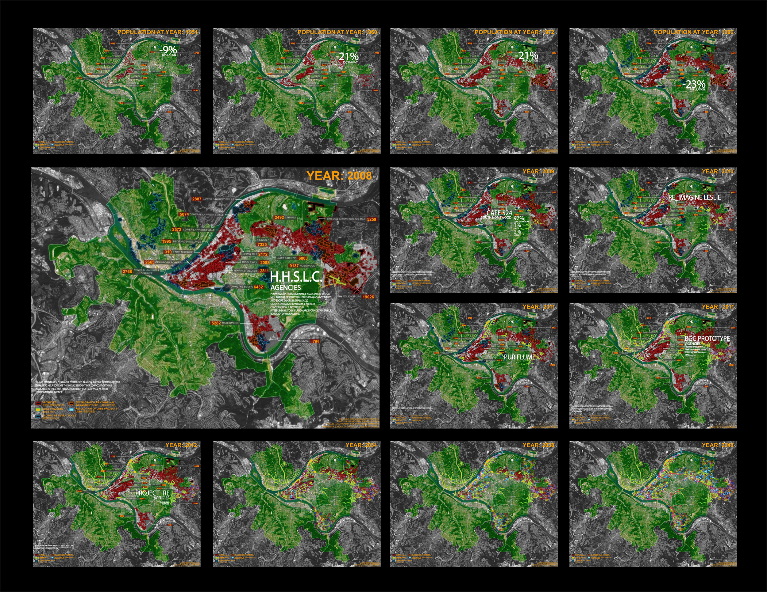 Stills from mapping animation illustrating change as a result of catalytic demonstration projects.