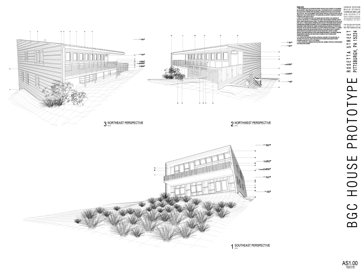 Assembly perspective drawing excerpts from construction document set.