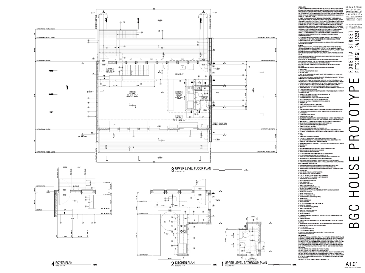 First floor plan and enlarged plan excerpts from construction document set.