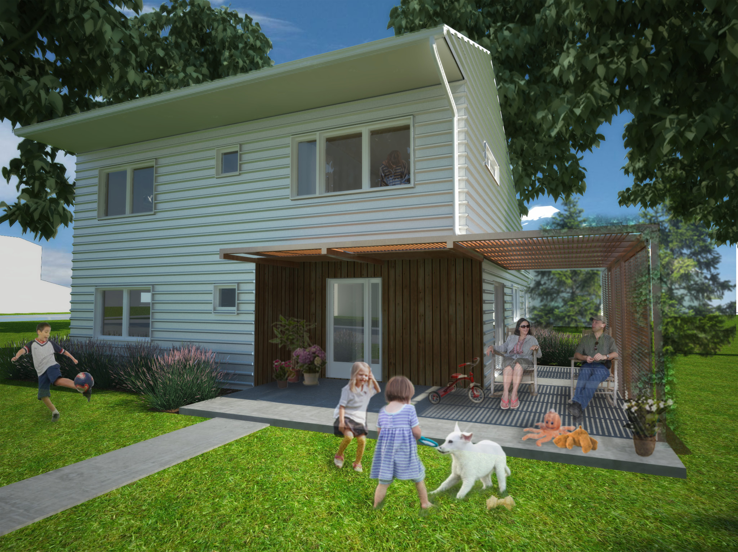 Render of the front entrance and porch.