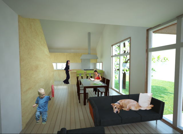 Render of kitchen from living room.