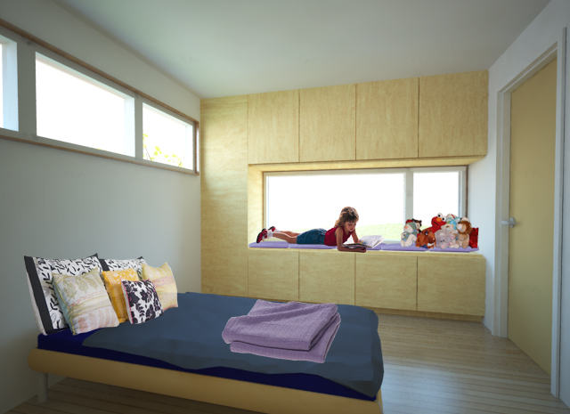 Built-in cabinets provide ample storage and also function as furniture.