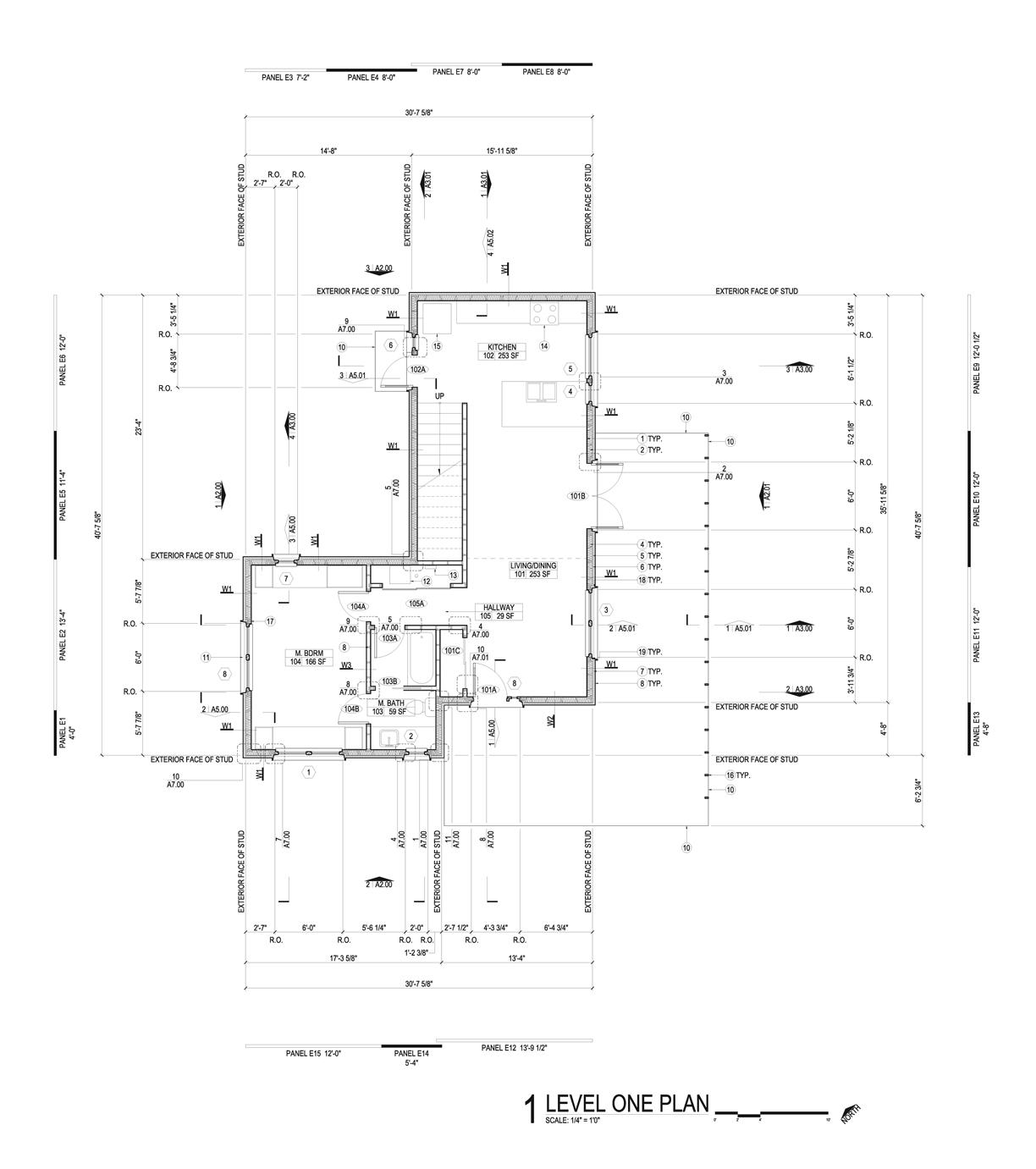 First floor plan excerpt from construction document set.