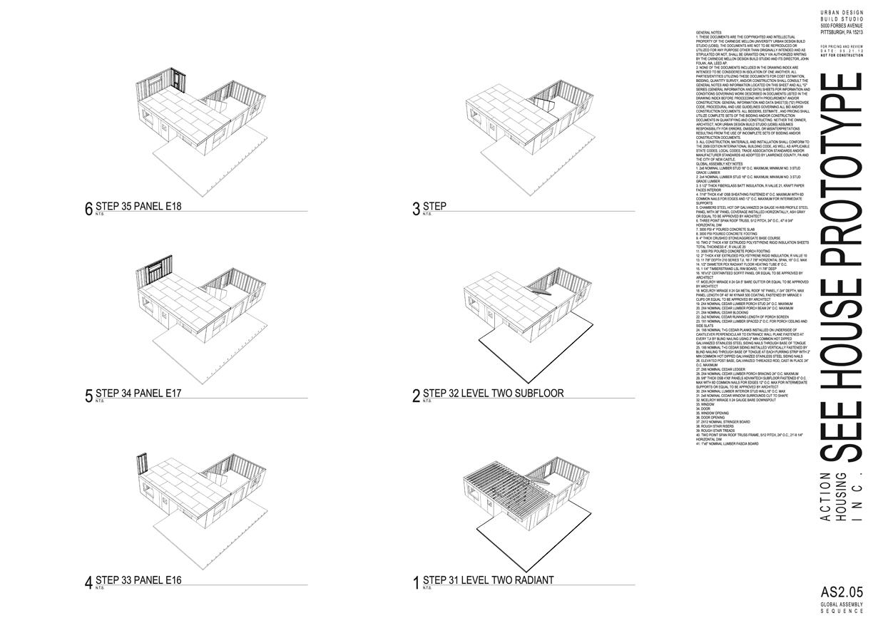 Assembly sequence excerpt from construction document set.