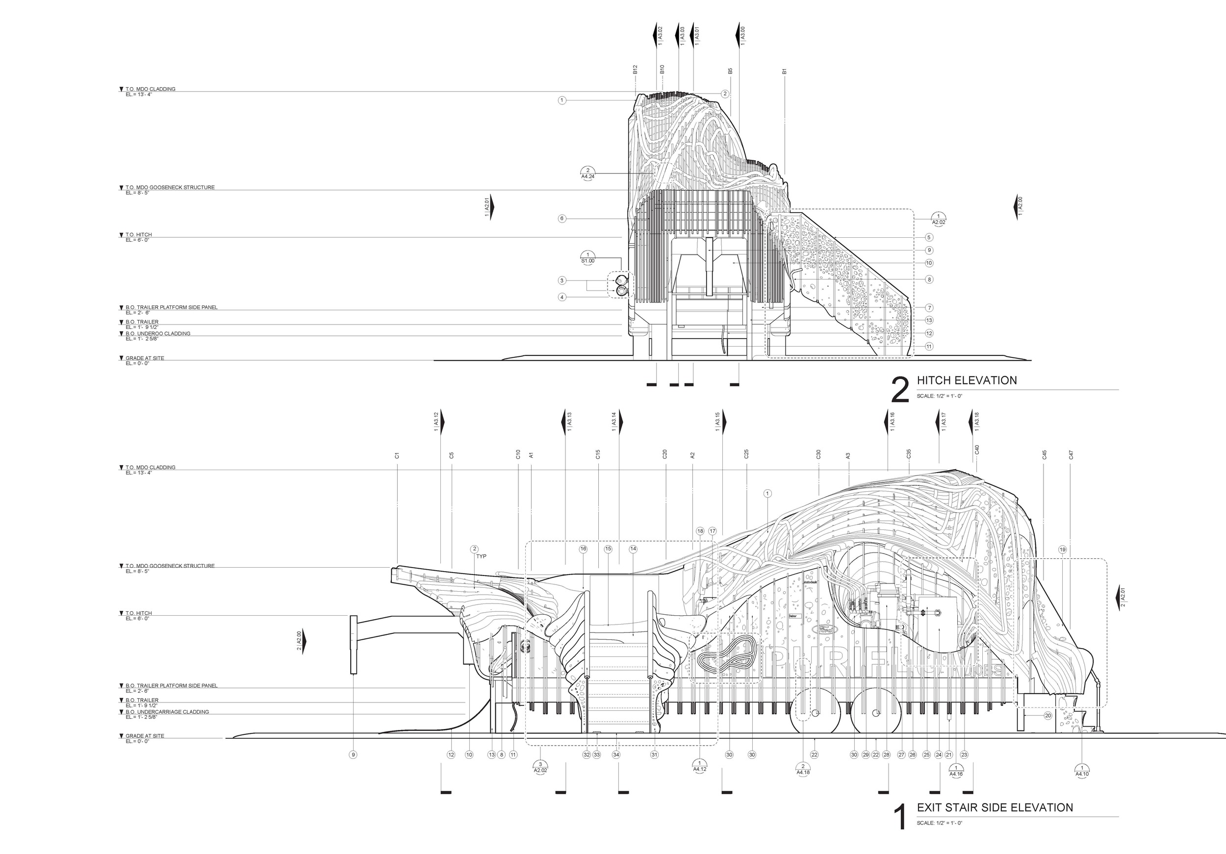 Elevation excerpts from construction drawing set.
