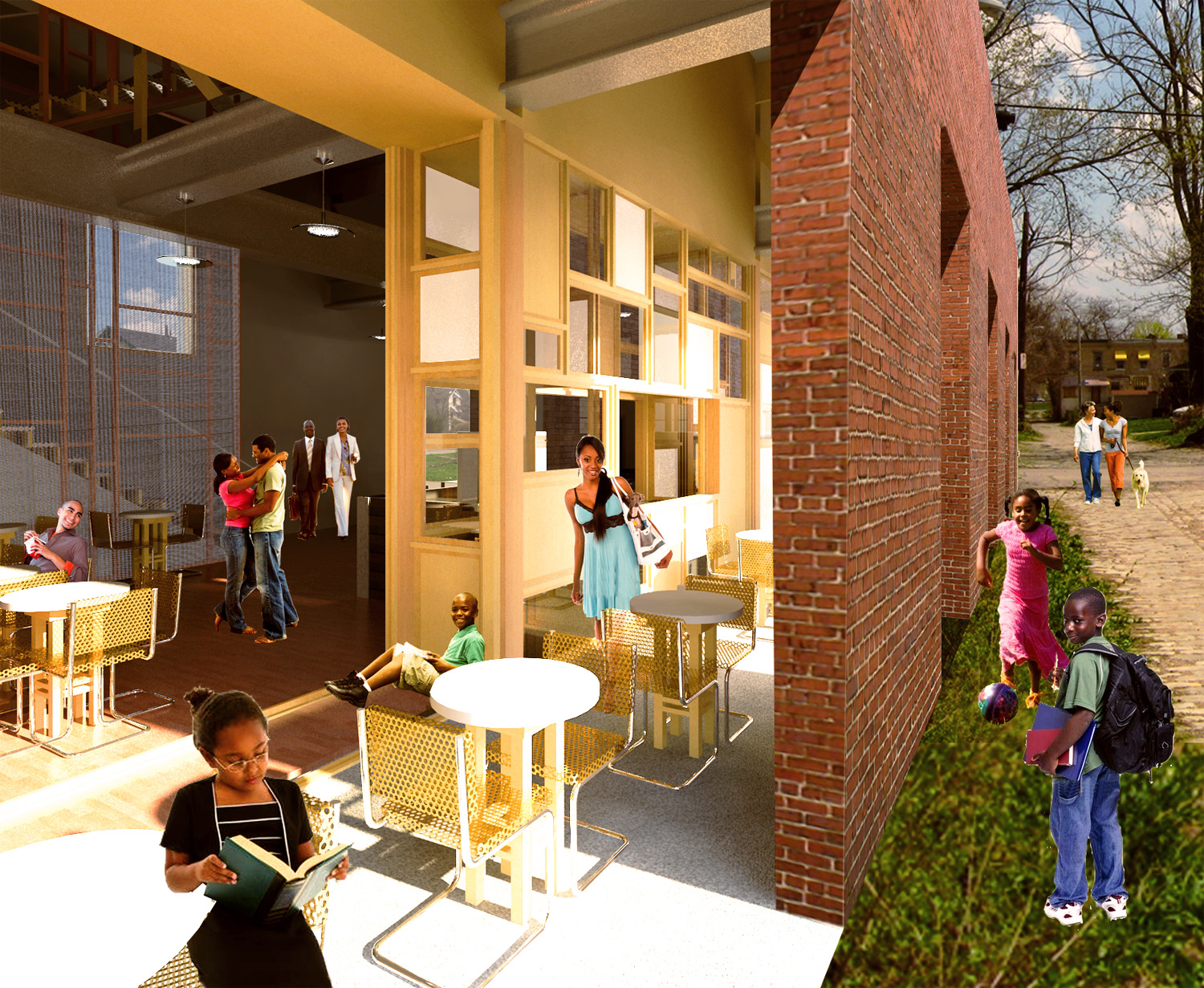 Render of cafe interior, southern-facing window wall, and covered outdoor arcade.