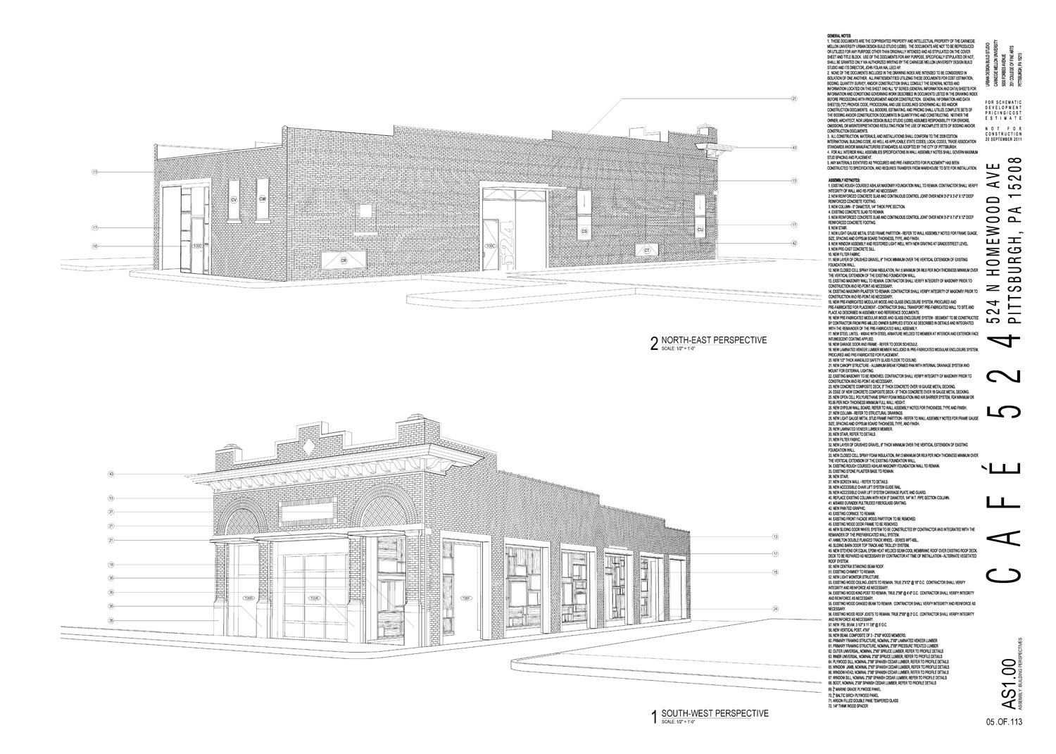 Assembly perspective excerpts from construction document set.
