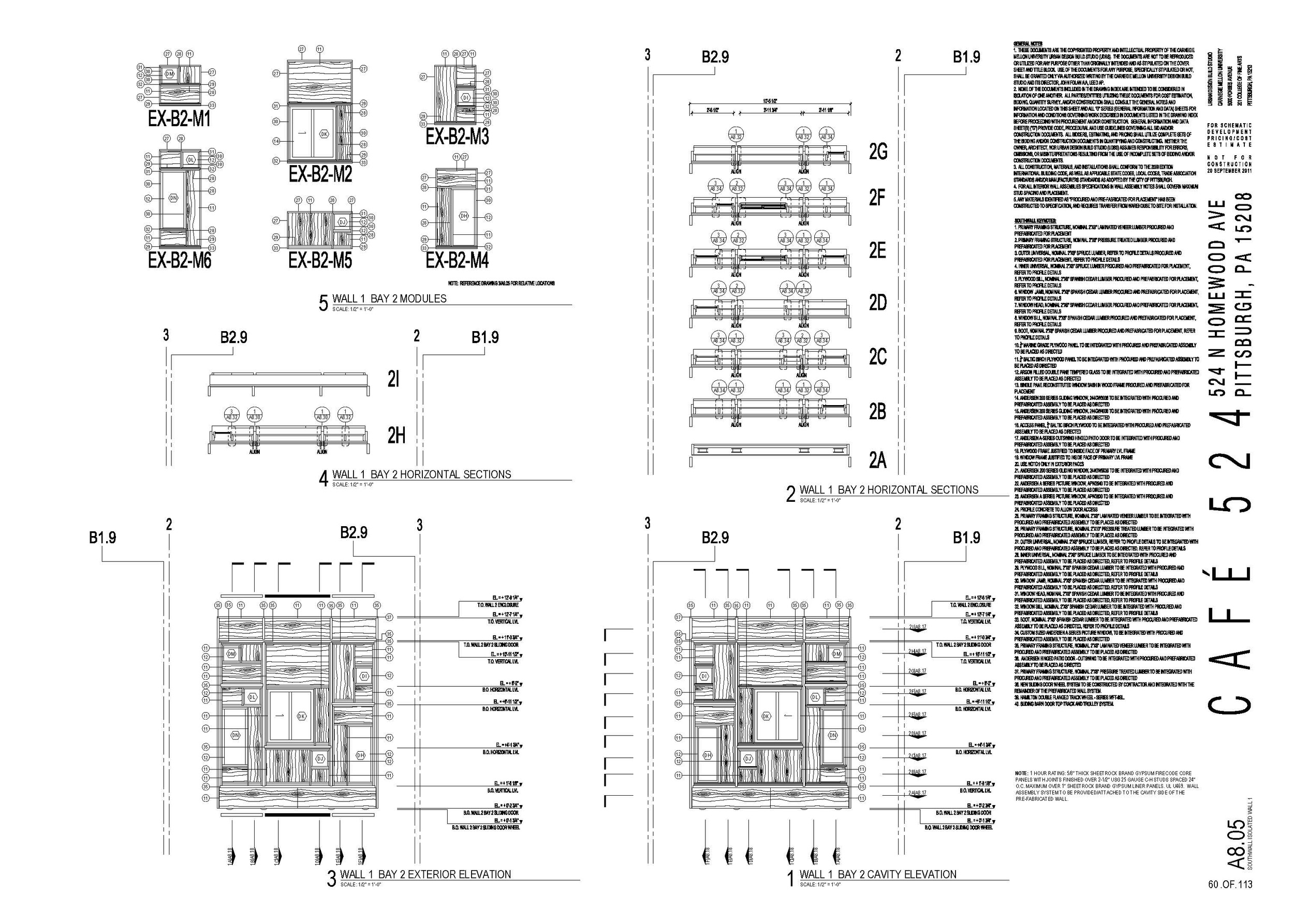 Wall module detail drawing excerpt from construction document set.