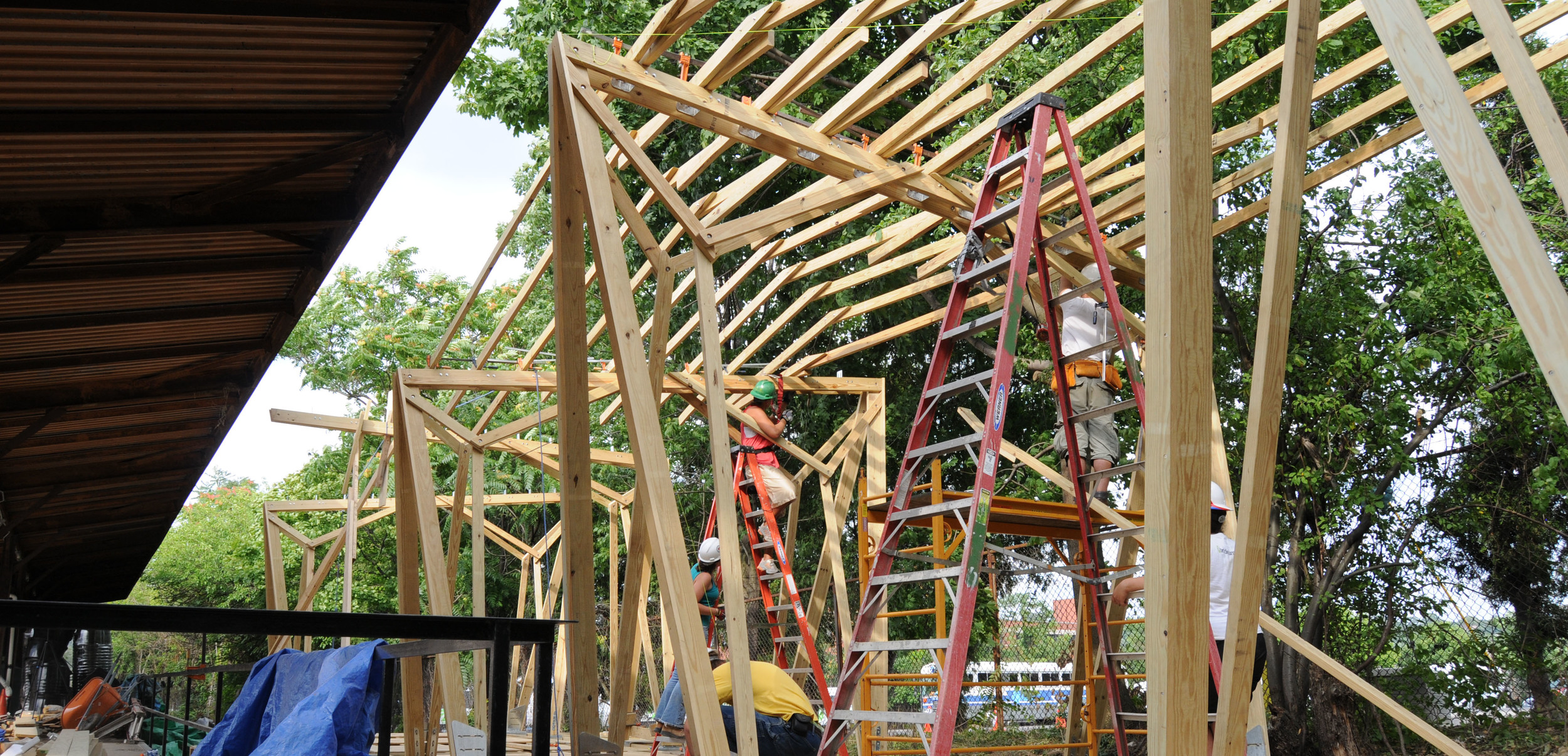 Roof joist placement during construction.