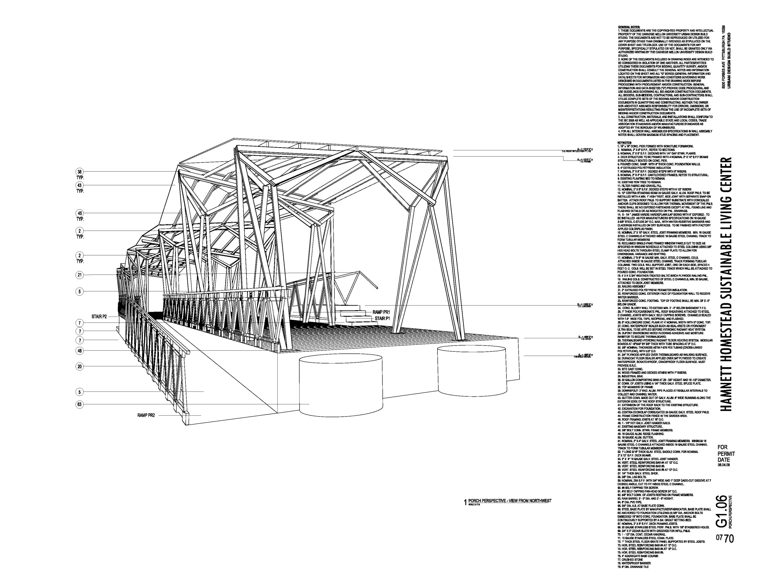 Assembly perspective excerpt from construction document set.
