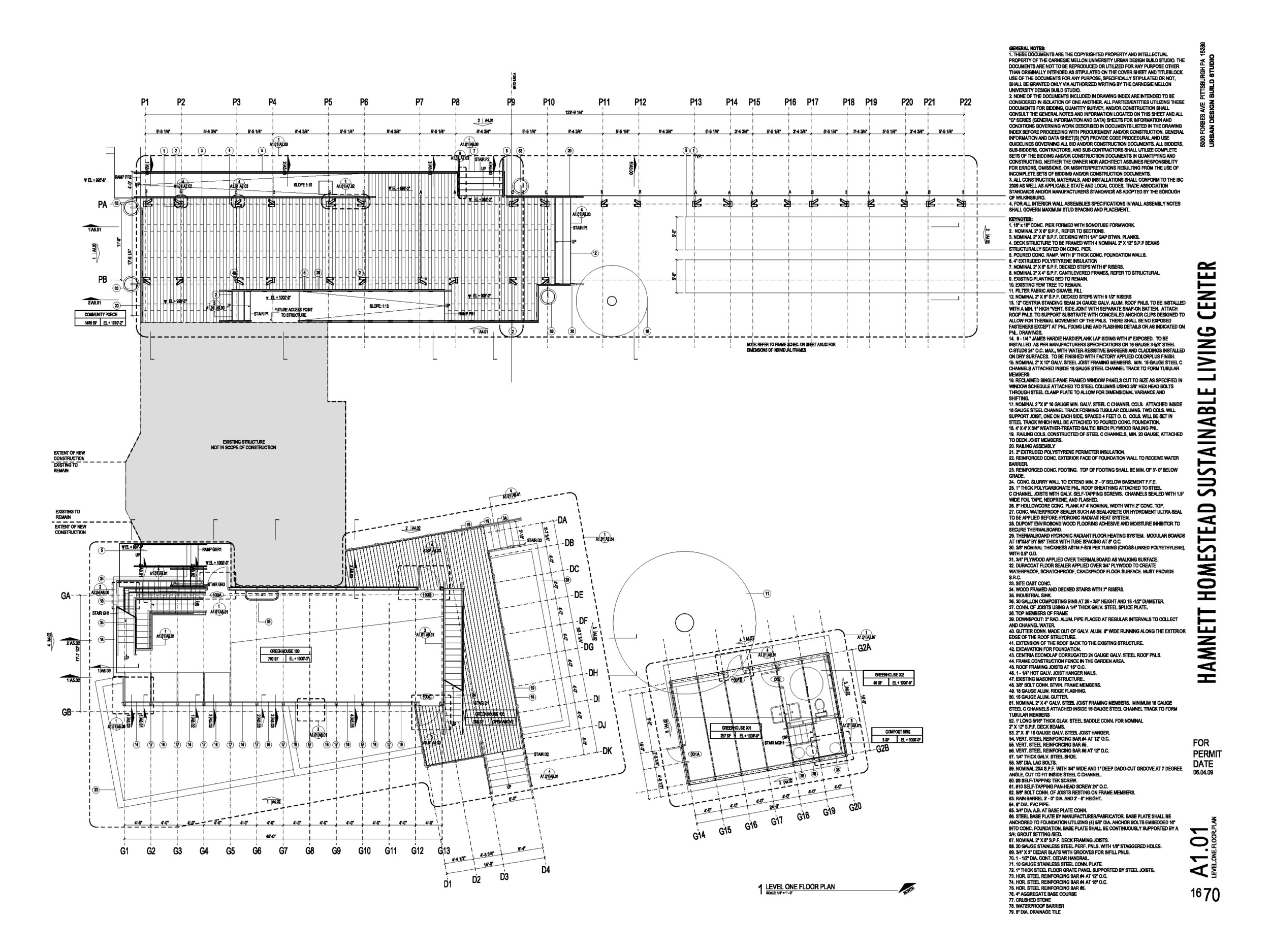 First floor plan excerpt from construction document set shows the community porch and greenhouses.