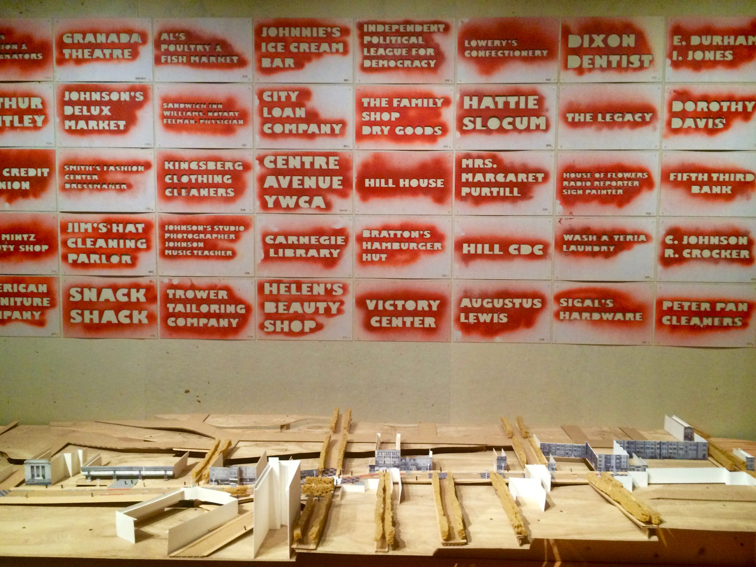 Studio for Spatial Practice and Hood Design's Hill District Greenprint - Center Avenue model and stencils of historic business names, featured in the Cooper Hewitt's exhibition  By the People: Designing A Better America .