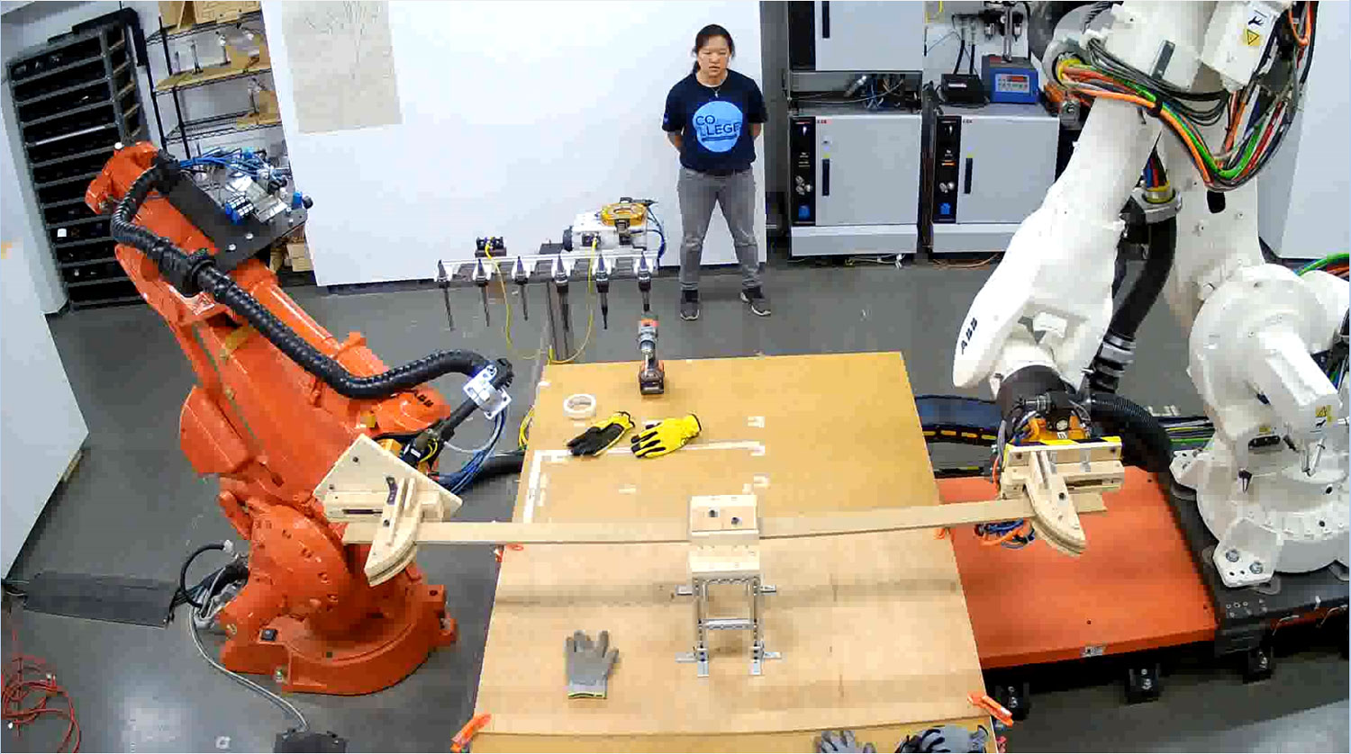 Robotic bending of steamed white oak