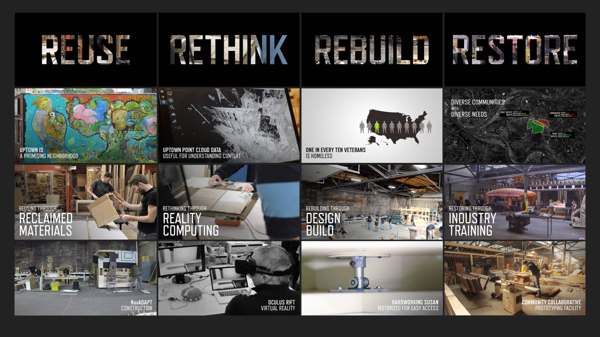 Excerpts from educational videos displayed on NavADAPT's exterior