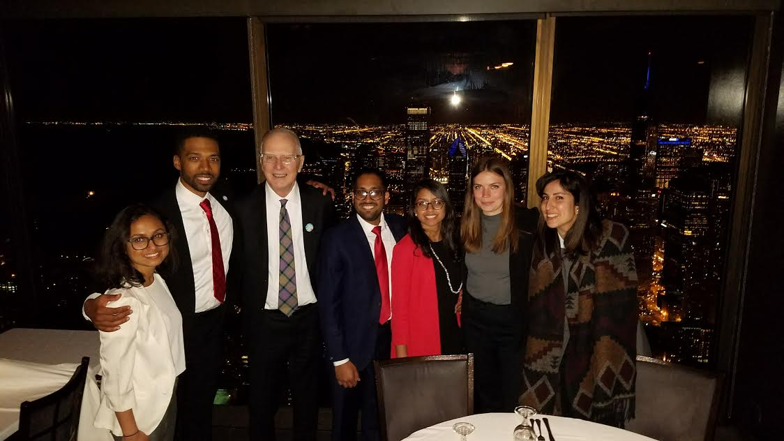 The evening's celebrations culminated with a team dinner at The Signature Room restaurant at the top of the Hancock Building in downtown Chicago. Photo credit: Radhika Patel