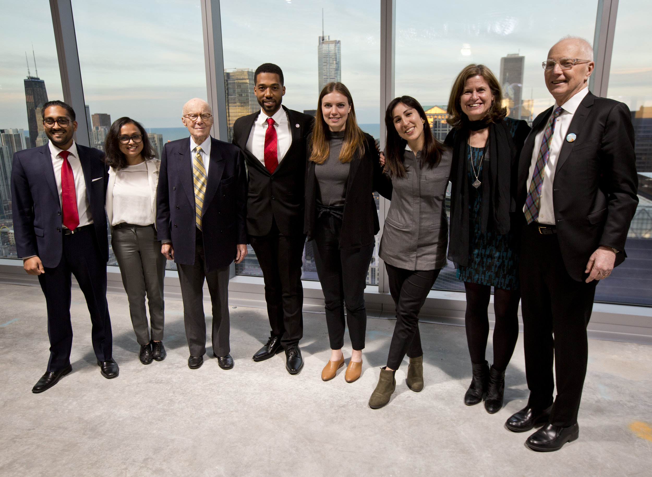 Pictured from left to right: Varun Patel, Shruti Srikar, Gerald Hines (competition sponsor and funder), Ernest Bellamy, Shannon Iacino, Lola Ben-Alon, Theresa Frankiewicz (Jury Chair), Don Carter.  Photo credit: ULI/Nathan Weber