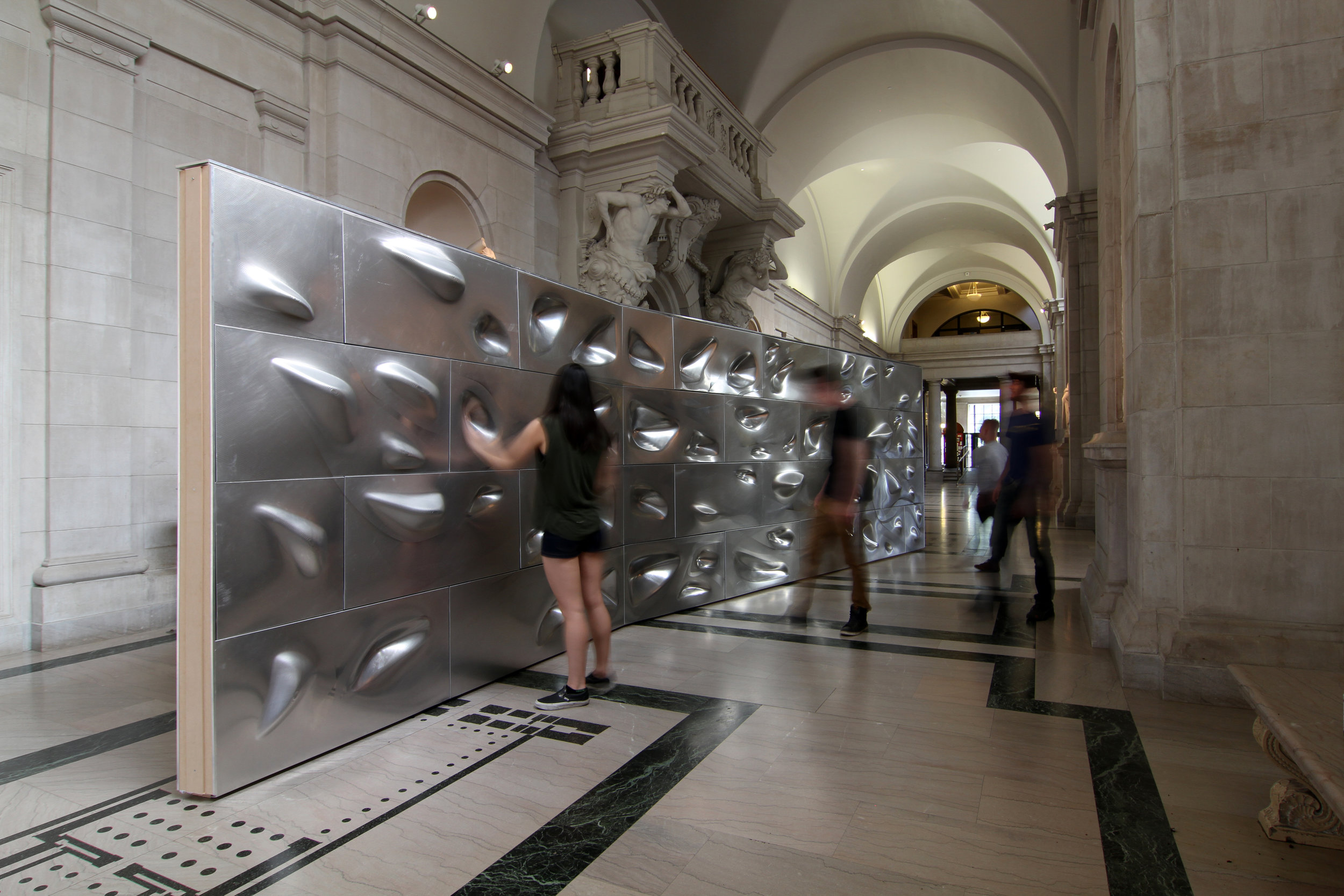 tact[Al], a robotically formed aluminum surface that explores the themes of material ductility, reflection, and tactility, is on display in the CFA Great Hall through 26 April.