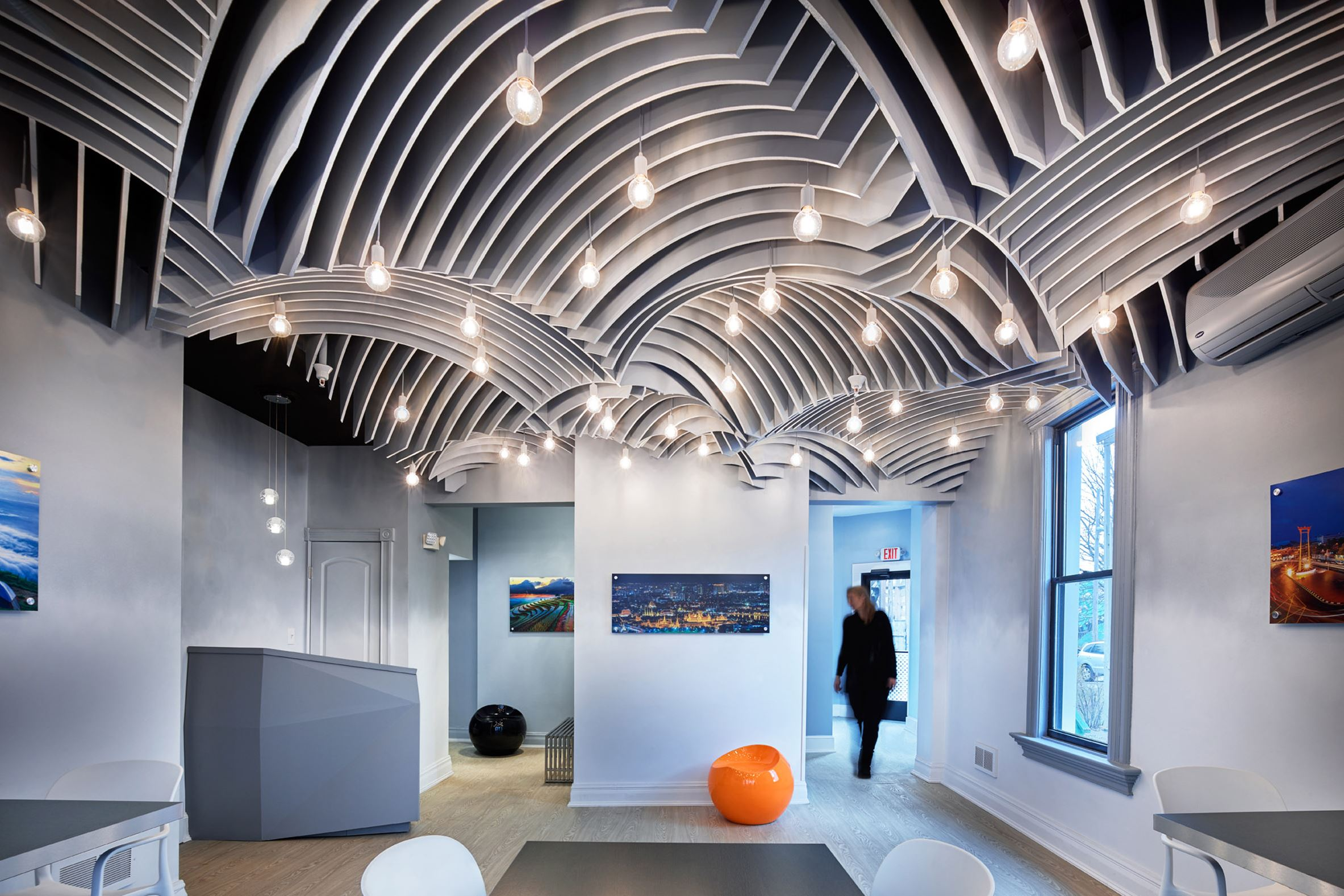 The ceiling at Senyai in Shadyside is inspired by the vaulted geometry of ancient Thai architecture and was designed and produced by SoA faculty with the help of students.